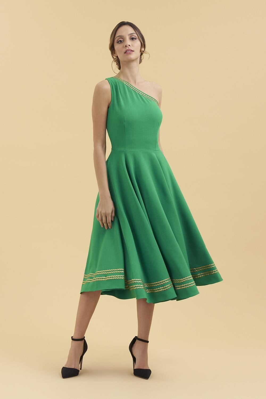 6432e914438 Dovima Cybele One Shoulder Midi Dress