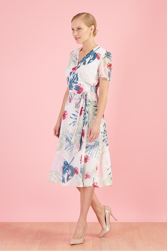 The Pretty Dress Company 1940's Hawaiian Georgette Wrap Dress