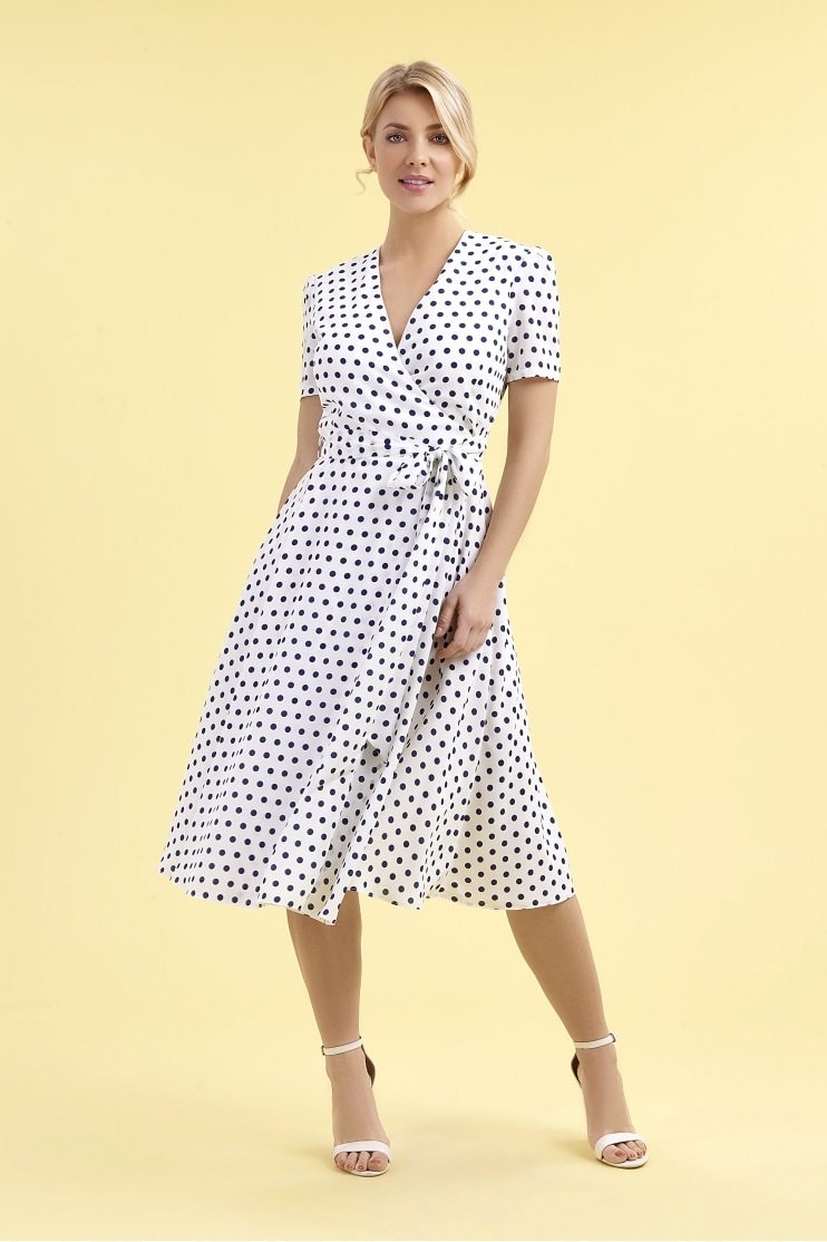 1940's Ivory & Navy Polka Dot Wrap Dress