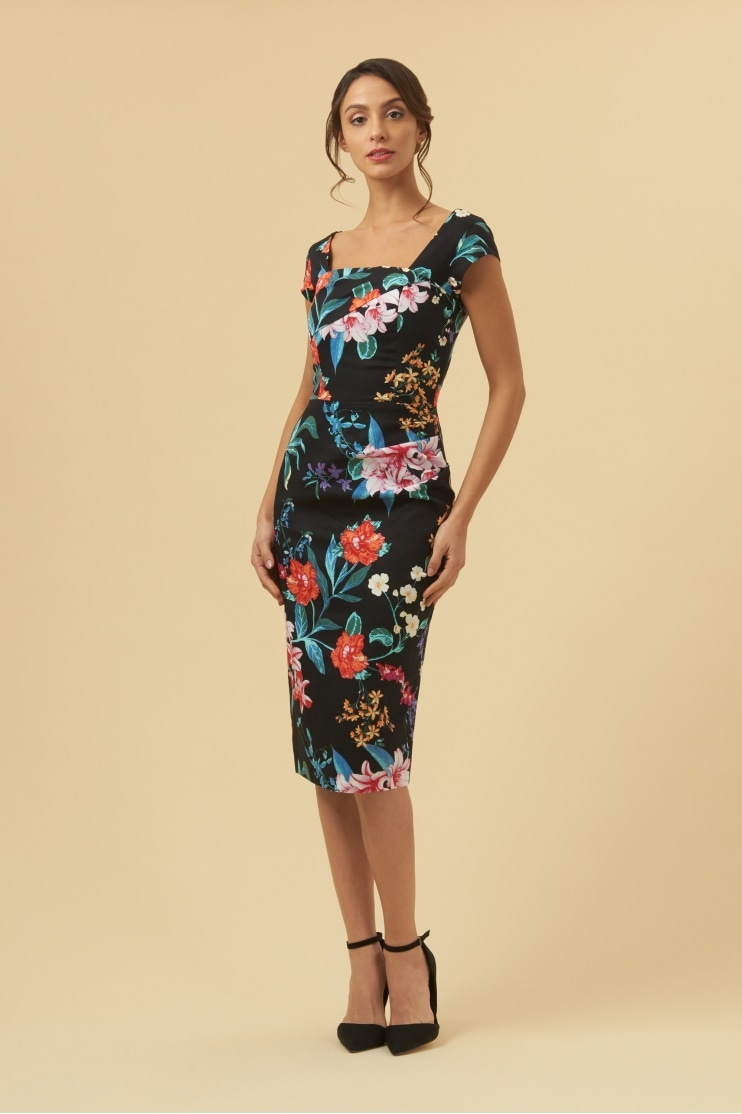 Ashlyn Hibiscus Pencil Dress