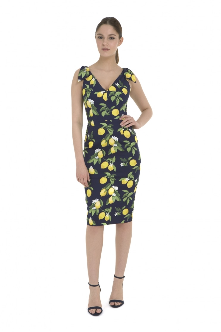 Ava Lemon Print Pencil Dress