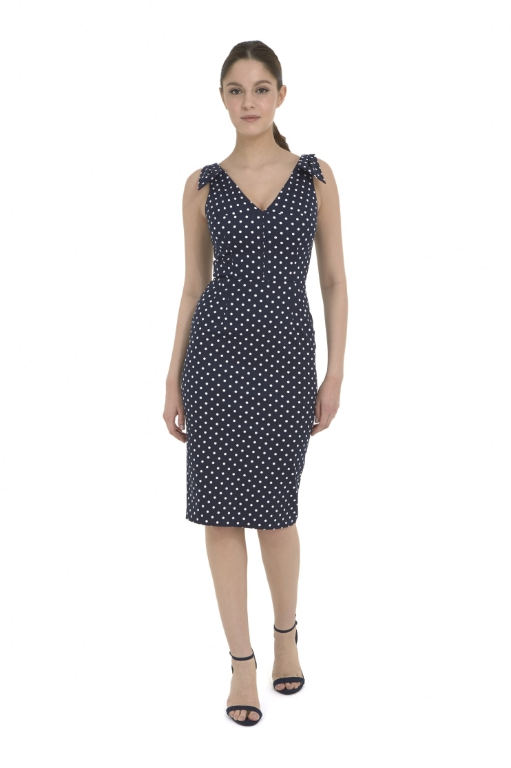 Ava Polka Dot Pencil Dress