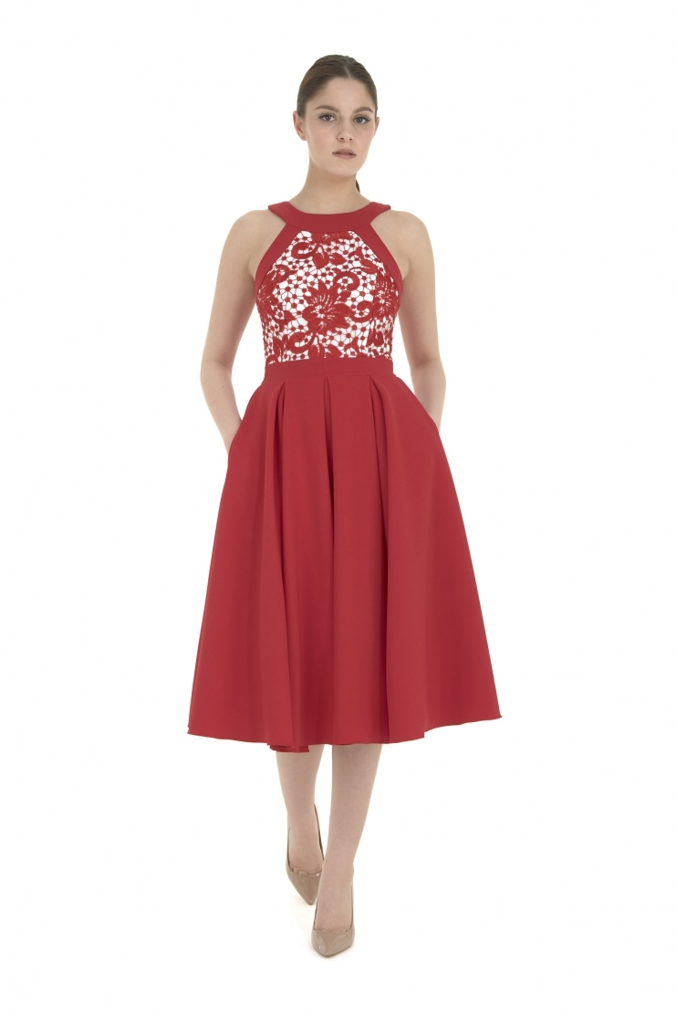 Ayda Red Guipure Lace Midi Dress