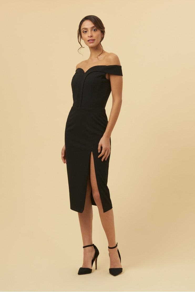 Bianca Black Off The Shoulder Pencil Dress
