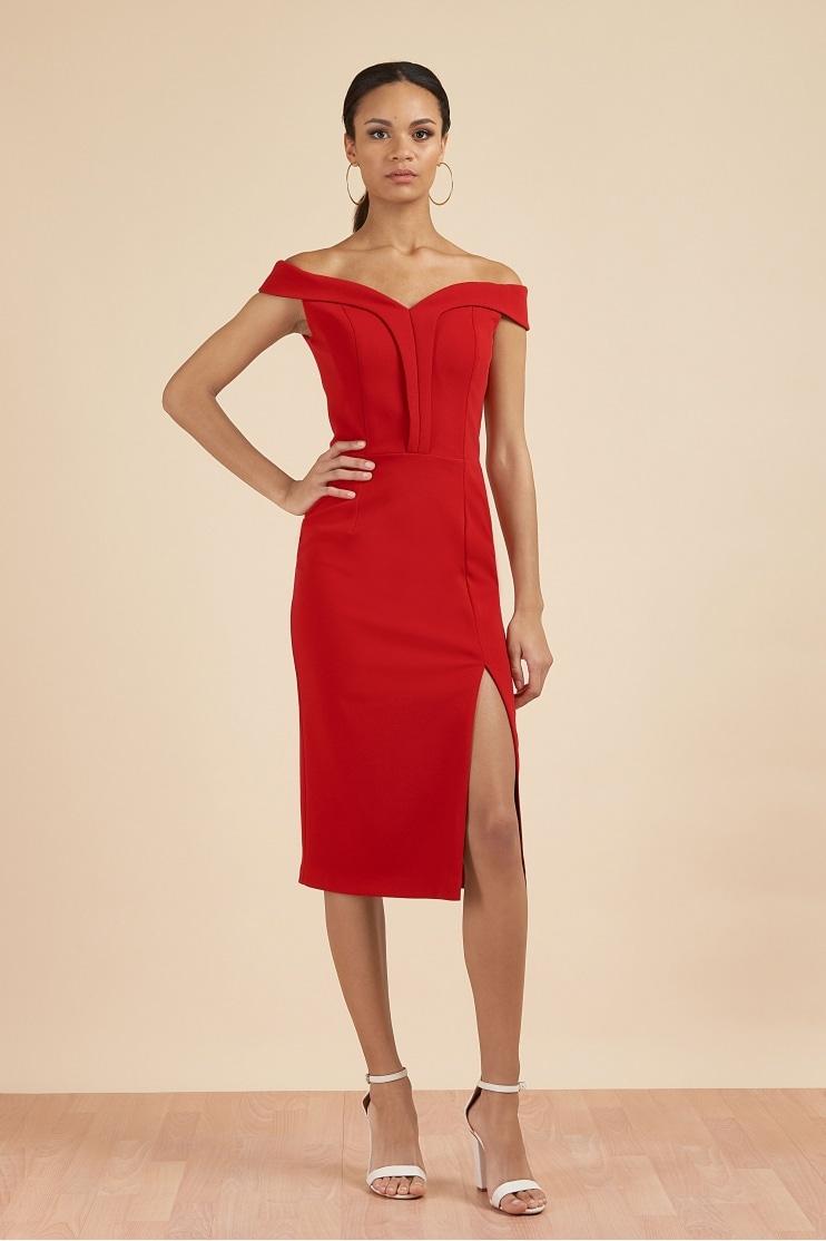8ef9a89ba8 Bianca Off The Shoulder Pencil Dress. The Pretty Dress Company Bianca Red  ...
