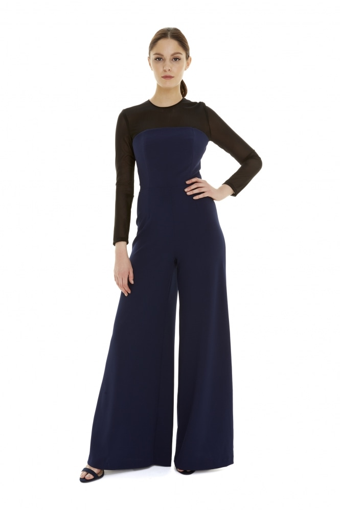 The Pretty Dress Company Cannes Contrast Power Net Jumpsuit