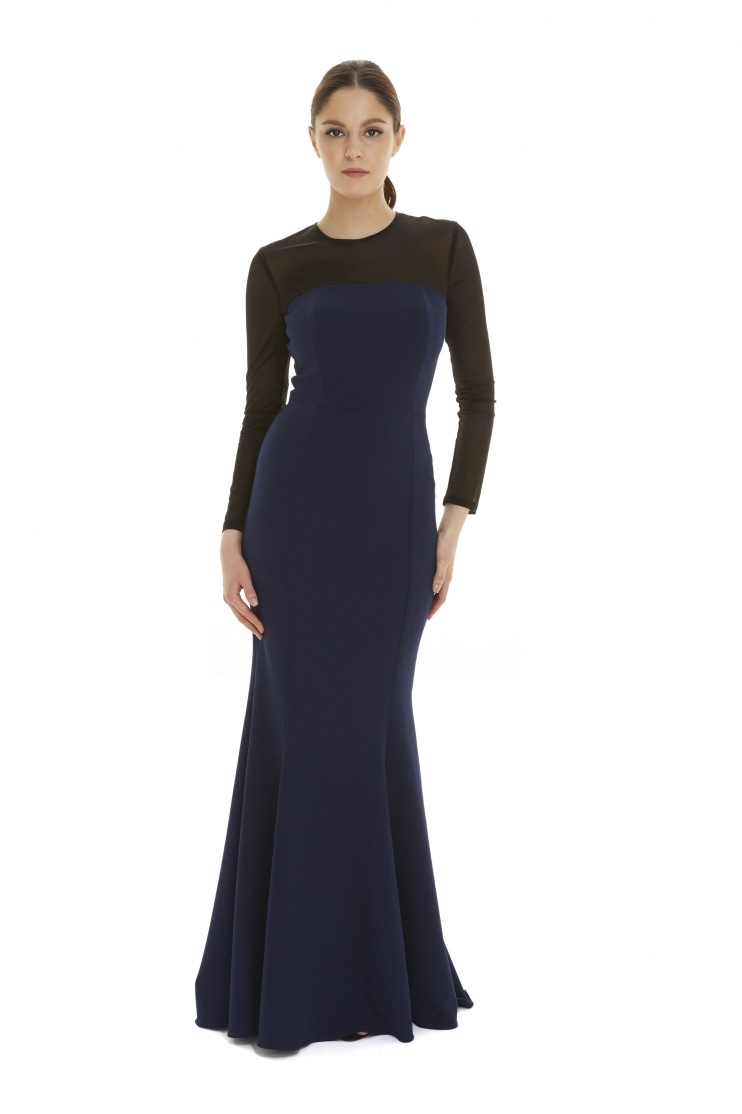 Cannes Contrast Power Net Midnight Gown