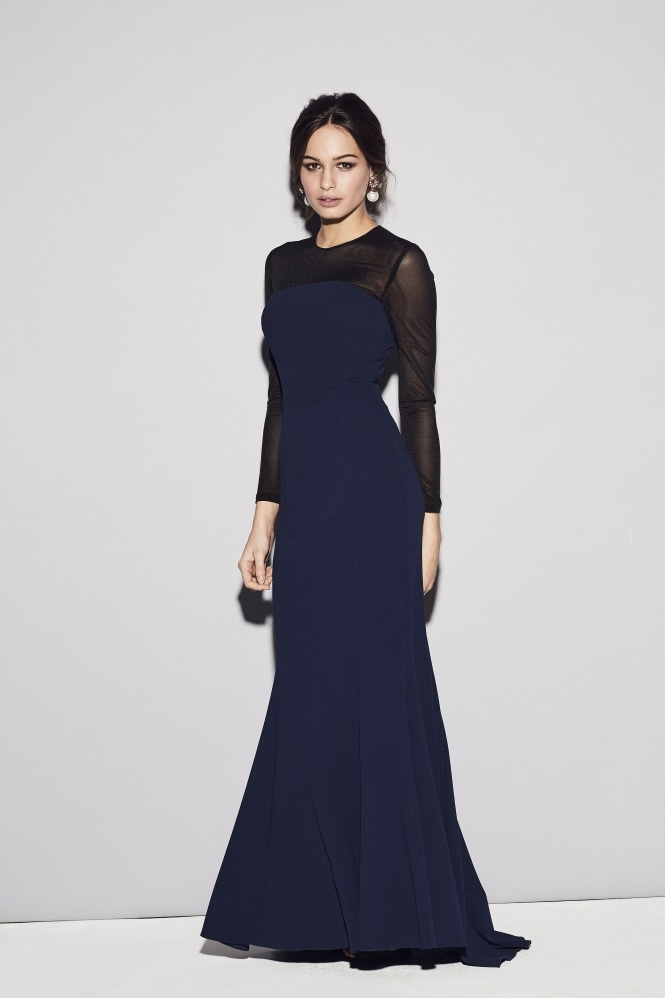 The Pretty Dress Company Cannes Contrast Power Net Midnight Gown