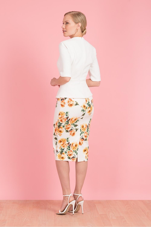 Vintage Orange Pencil Skirt