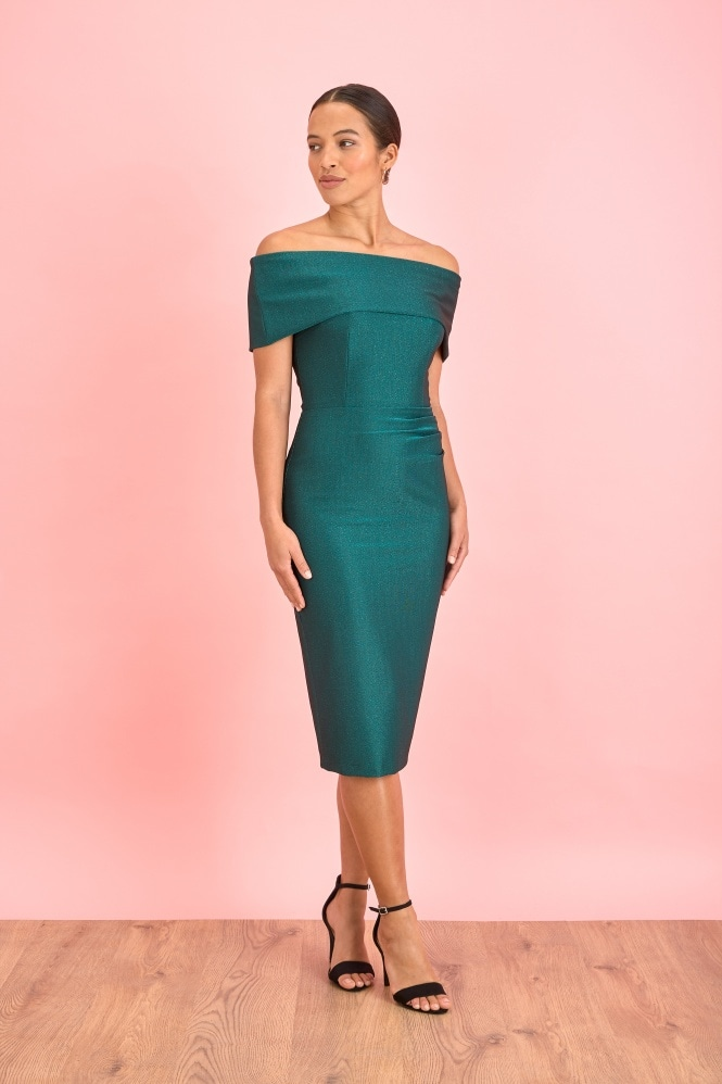 The Pretty Dress Company Dani Bardot Lurex Rib Pencil Dress