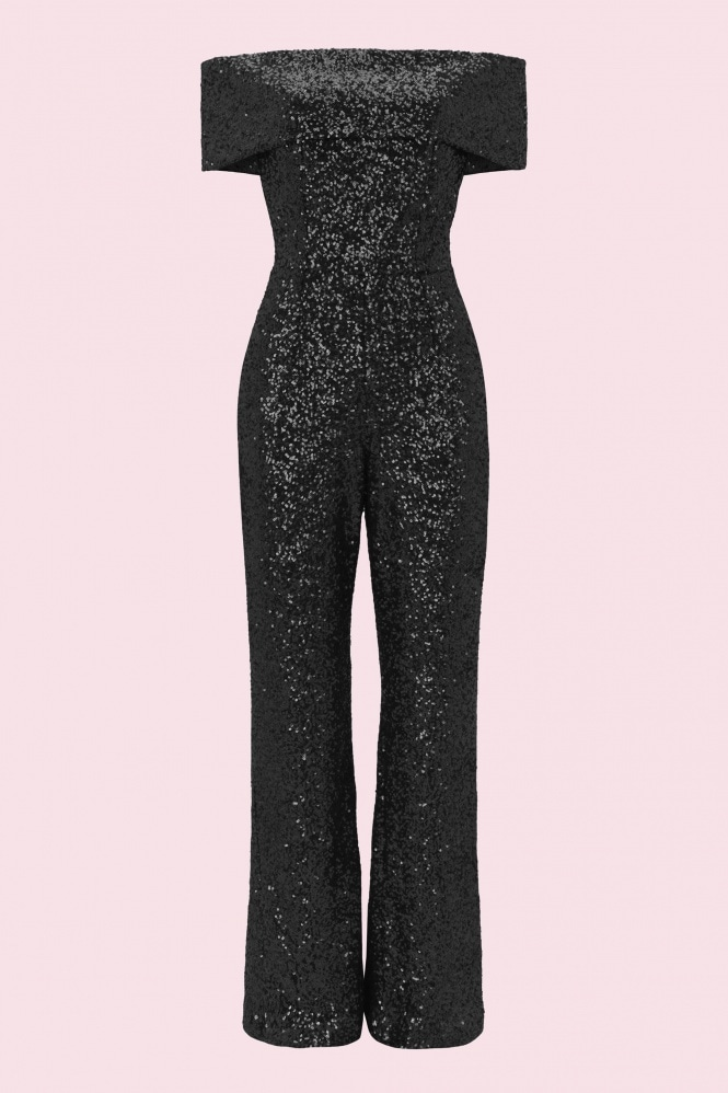 The Pretty Dress Company Dani Sequin Kick Flare Jumpsuit