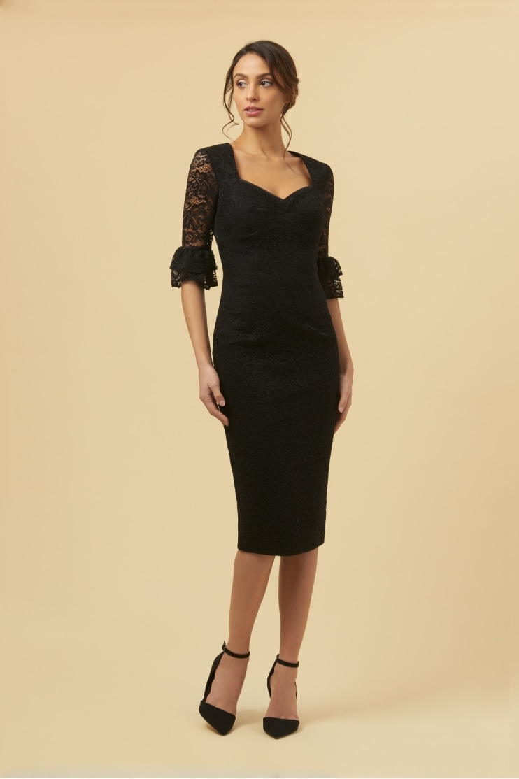 Elsa Black Lace Frill Sleeve Pencil Dress