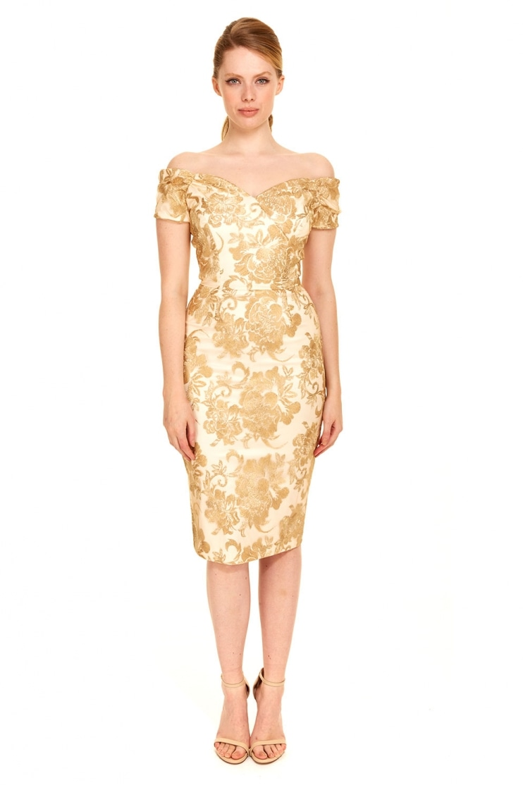 Fatale Baroque Embroidered Pencil Dress