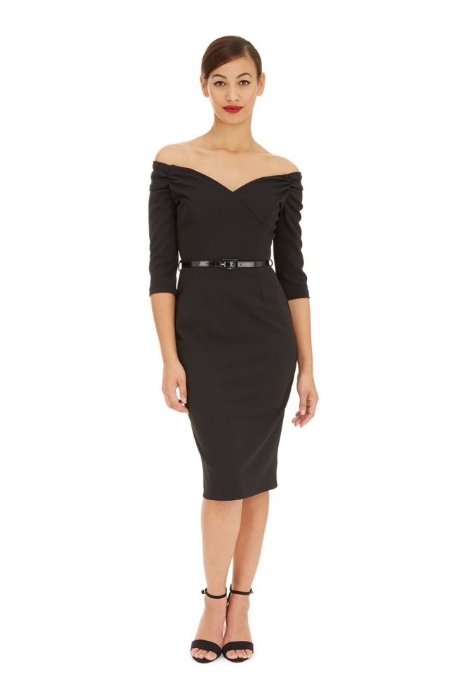 The Pretty Dress Company Fatale Black Luxe Crepe Sleeved Pencil dress