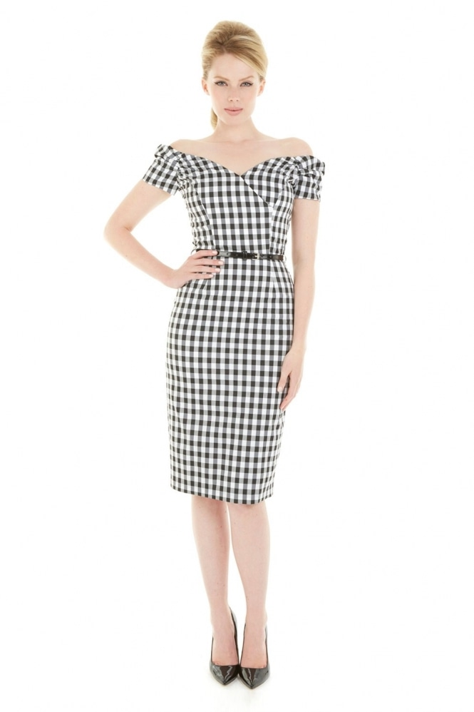 The Pretty Dress Company Fatale Black & White Gingham Pencil Dress