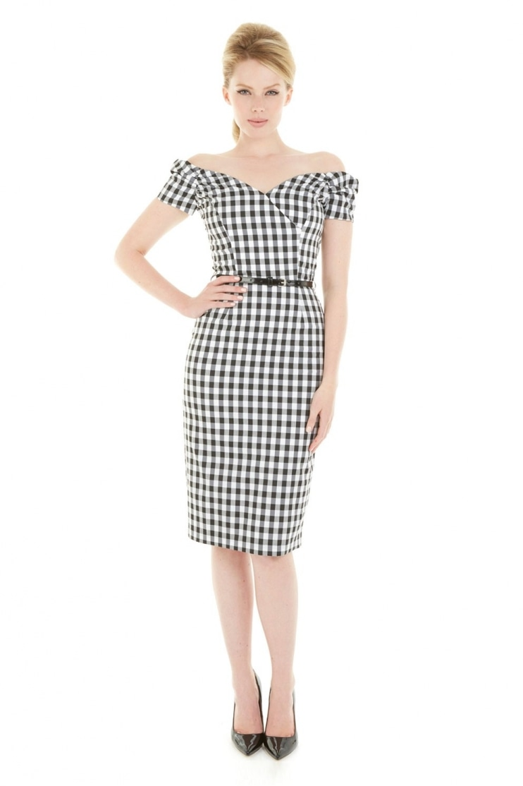 Fatale Black & White Gingham Pencil Dress