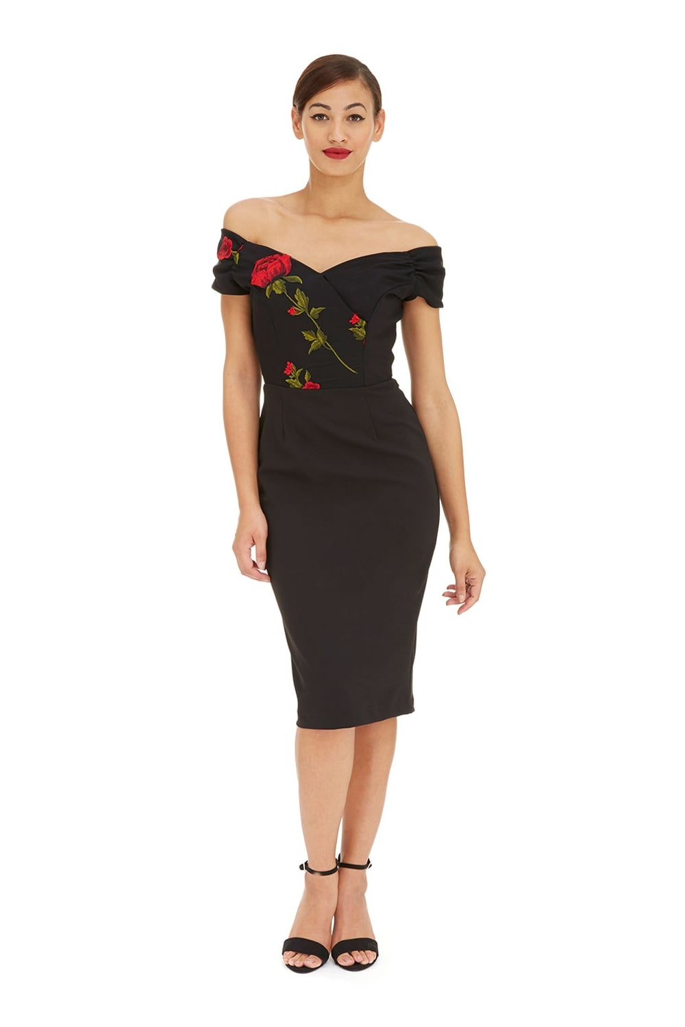 Embroidered bodice pencil dress