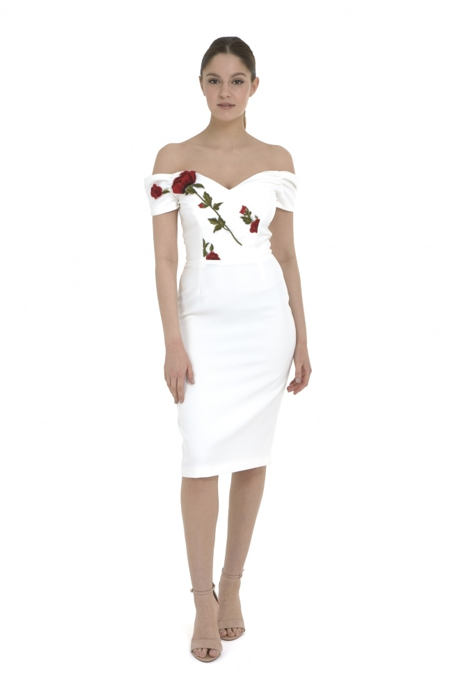 The Pretty Dress Company Fatale Embroidered Bodice Pencil Dress