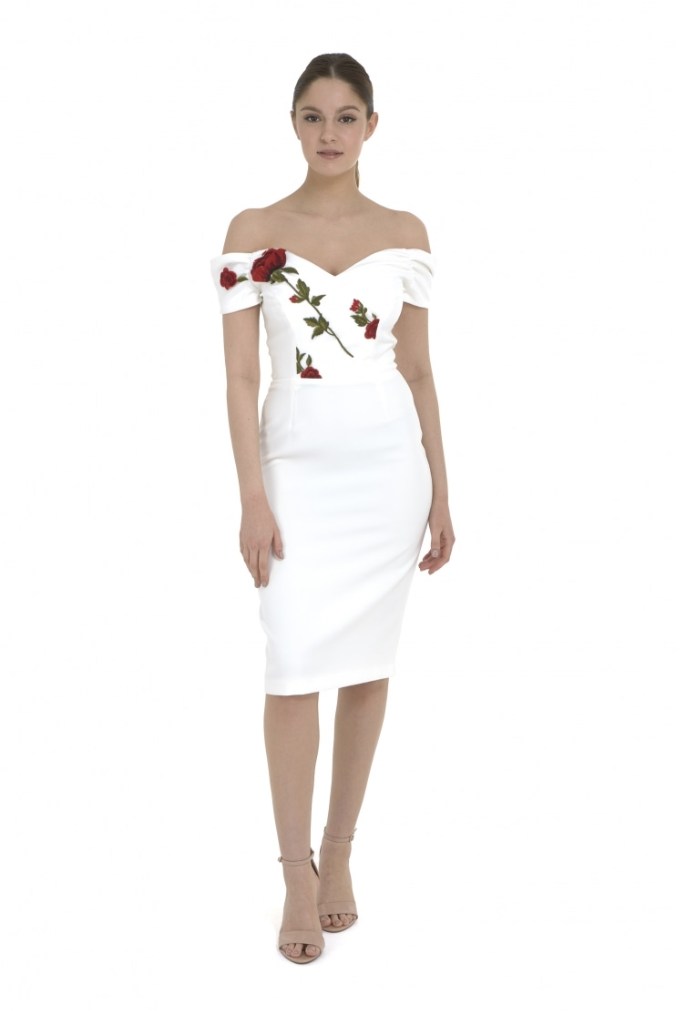 Fatale Embroidered Bodice Pencil Dress