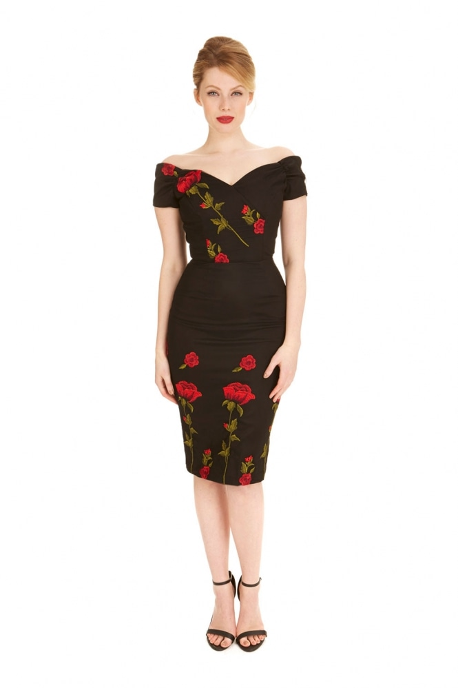 The Pretty Dress Company Fatale Embroidered Pencil Dress