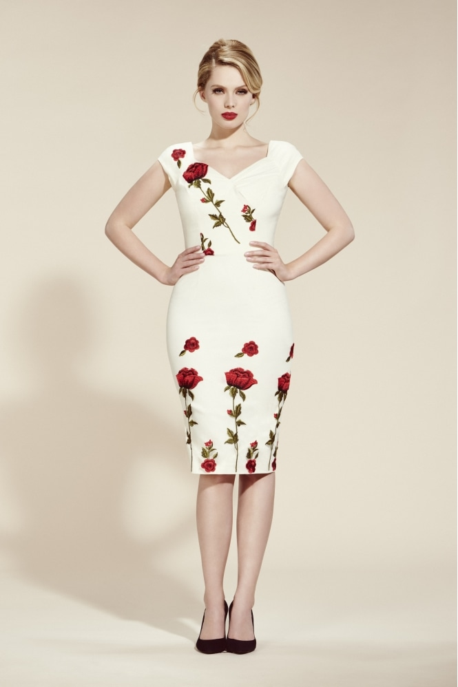 The Pretty Dress Company Fatale Embroidered Rose Pencil Dress