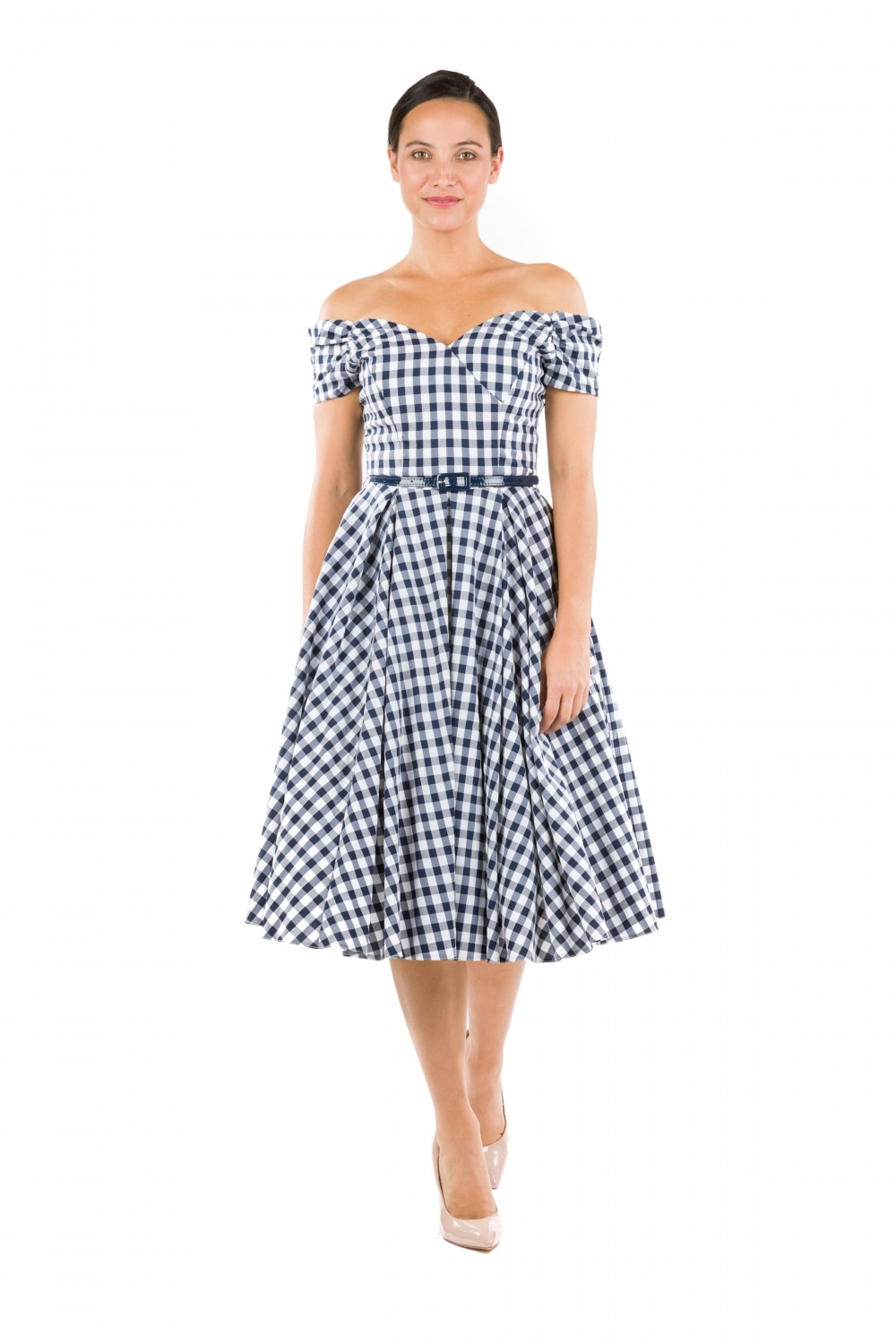 The Pretty Dress Company Navy and White Fatale Gingham Prom Dress
