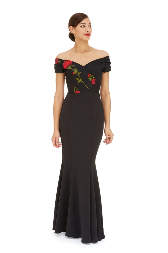 The Pretty Dress Company Fatale Half Embroidered Fishtail Gown