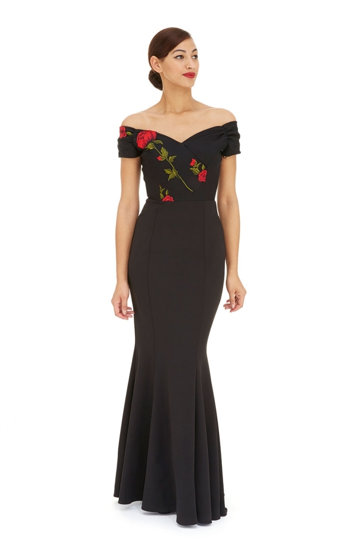 Fatale Half Embroidered Fishtail Gown