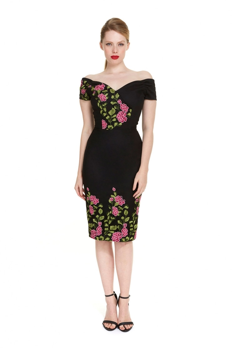 Fatale La Reine Embroidered Pencil Dress
