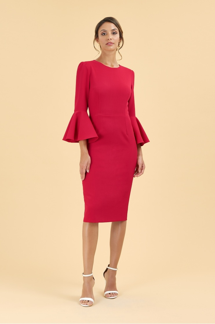 Gia Oversized Fluted Sleeve Pencil Dress - End of line
