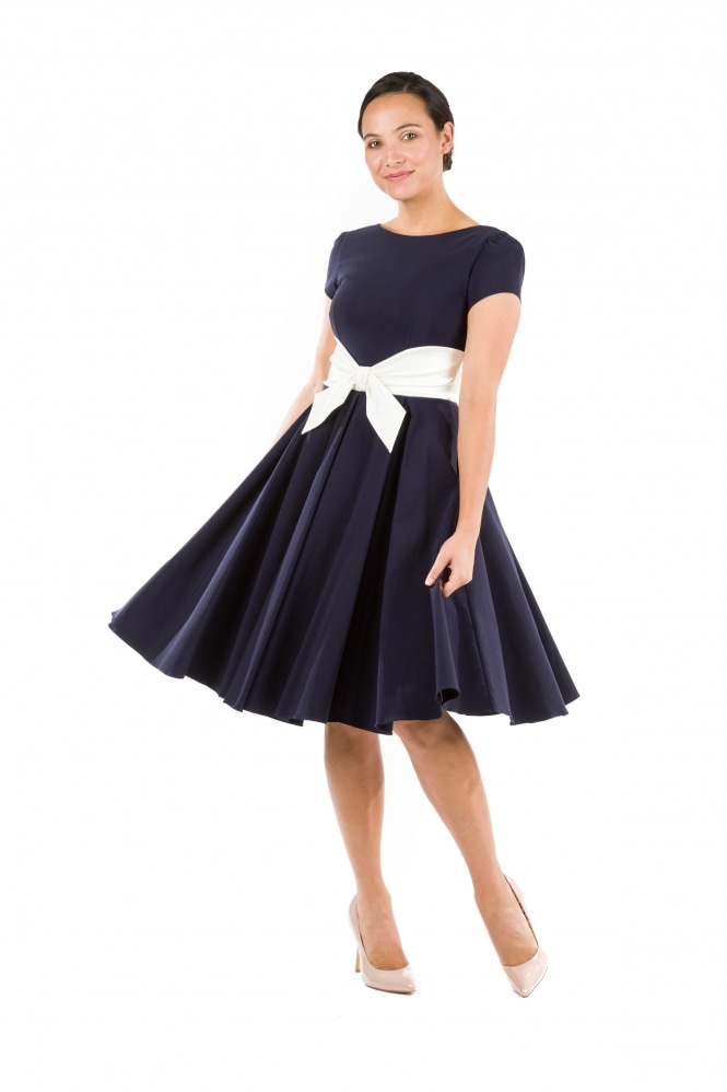 The Pretty Dress Company Grace Navy Swing Dress with Ivory Contrast Bow