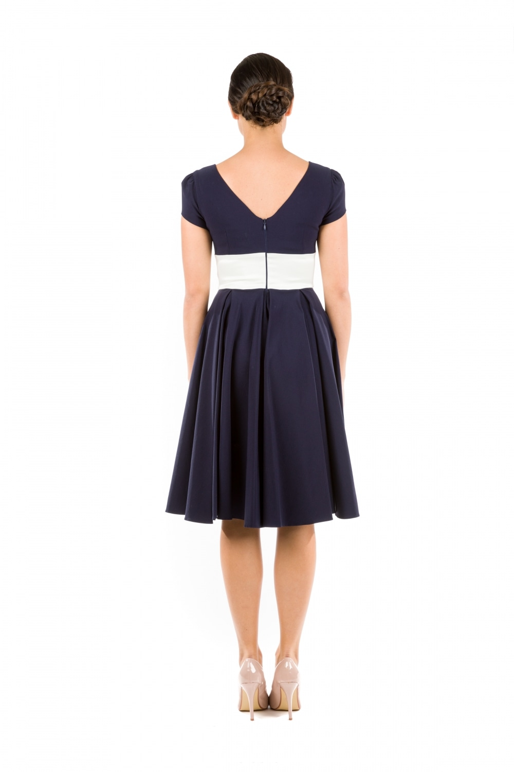 31ce06ae4c30 Grace Navy Swing Dress with Contrast Ivory Bow