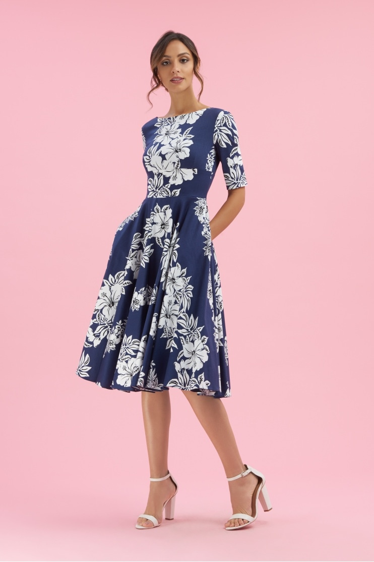 Hepburn Hawaiian Midi Swing Dress