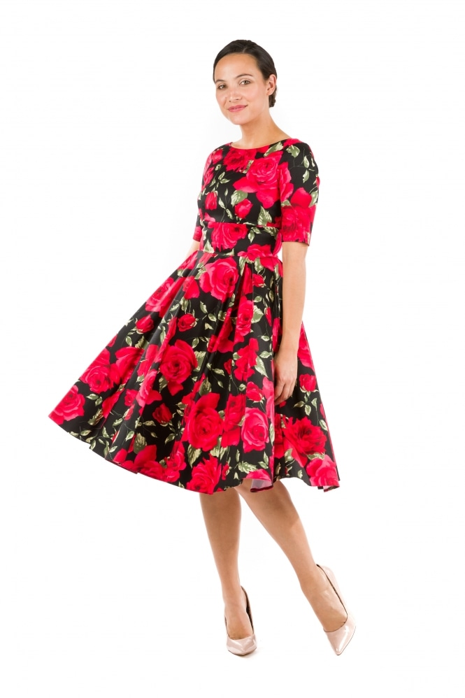 The Pretty Dress Company Hepburn in Red and Black Sorrento