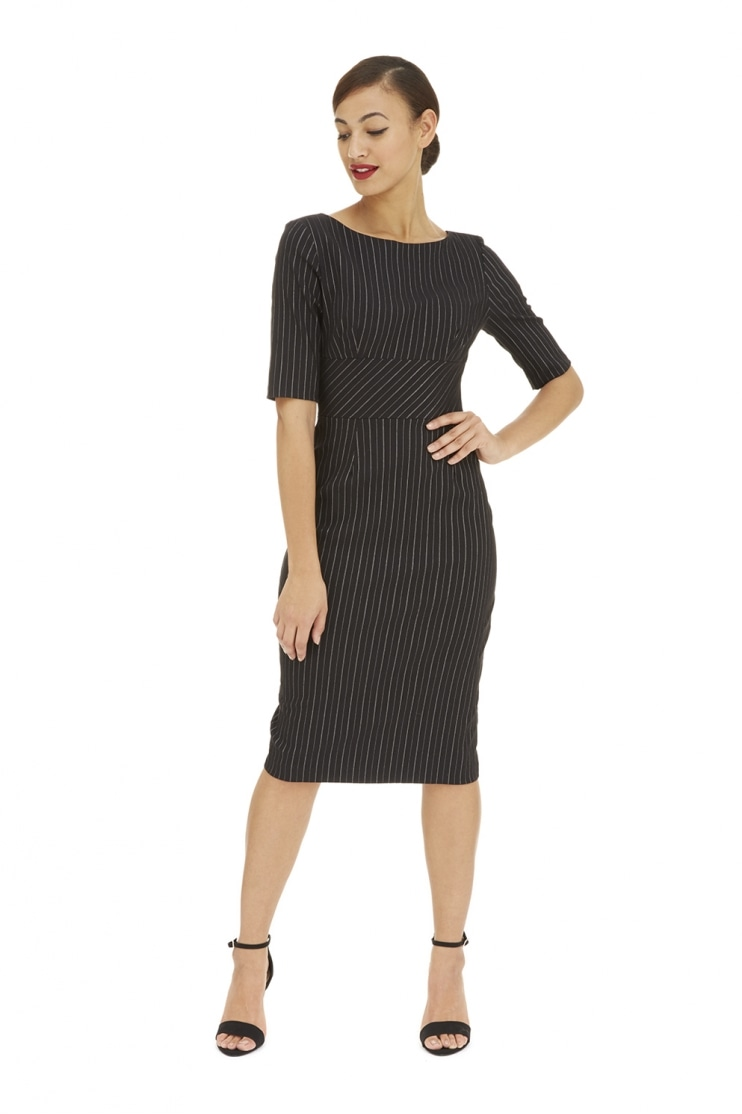 Hepburn Pencil Dress in Black Pinstripe