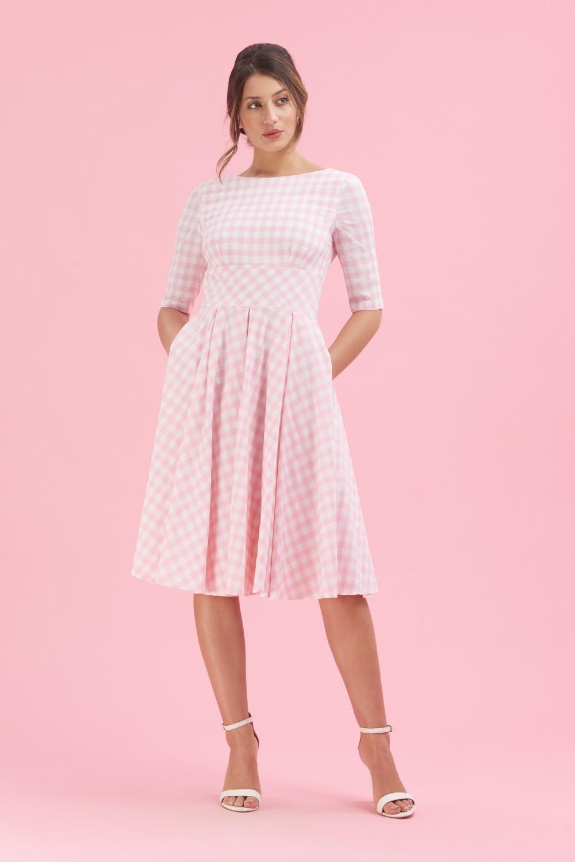 d48a0c930da6 The Pretty Dress Company Hepburn Pink   White Gingham Swing Dress
