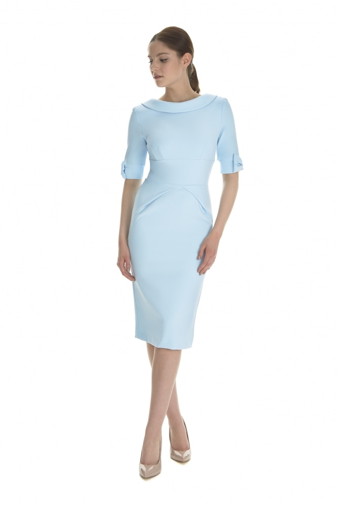 The Pretty Dress Company Hollywood 3/4 Sleeve French Crepe Pencil Dress