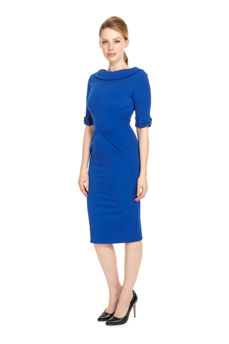 Hollywood 3/4 Sleeve French Crepe Pencil Dress