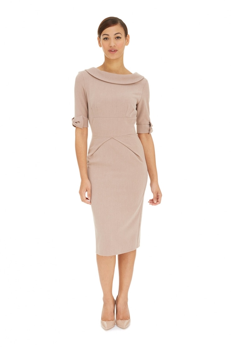 Hollywood 3/4 Sleeve Twill Pencil Dress
