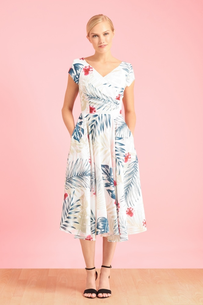 The Pretty Dress Company Hourglass Hawaiian Georgette Swing Dress
