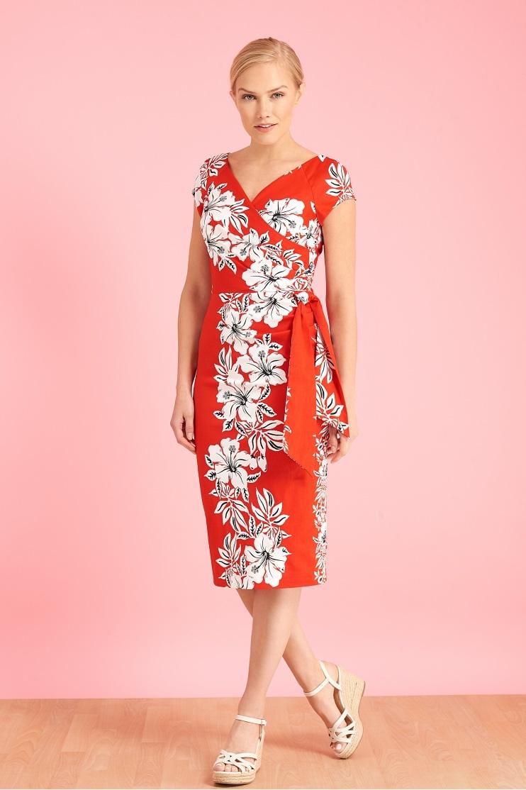 62d481f2b7f5 Hourglass Hawaiian Pencil Dress