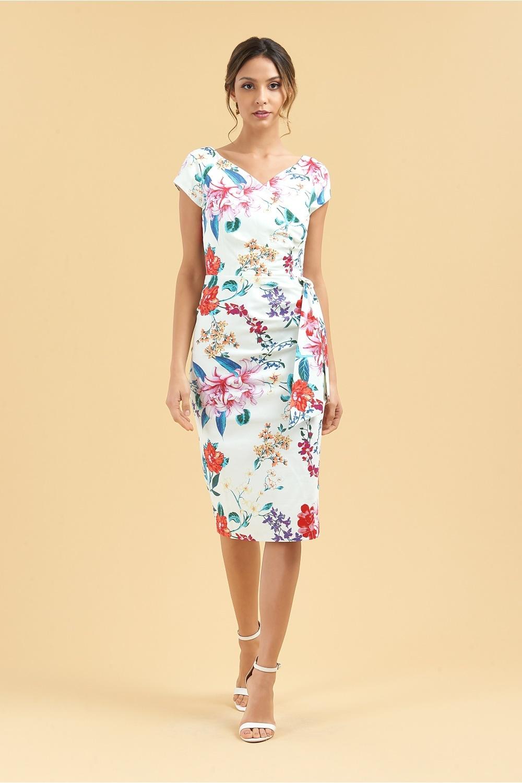 462279c4e9e The Pretty Dress Company Hourglass Hibiscus Faux Wrap Pencil Dress
