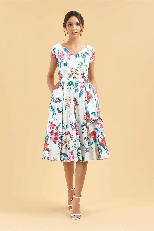 The pretty dress company hourglass hibiscus faux wrap swing dress hourglass hibiscus faux wrap swing dress izmirmasajfo