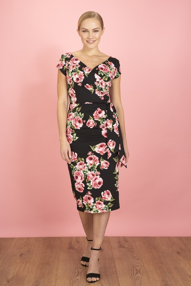 The Pretty Dress Company Hourglass Vintage Rose Pencil Dress
