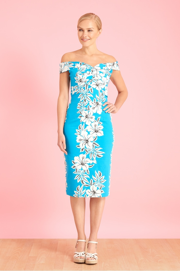 d9340e984da2 Kai Hawaiian Off The Shoulder Pencil Dress