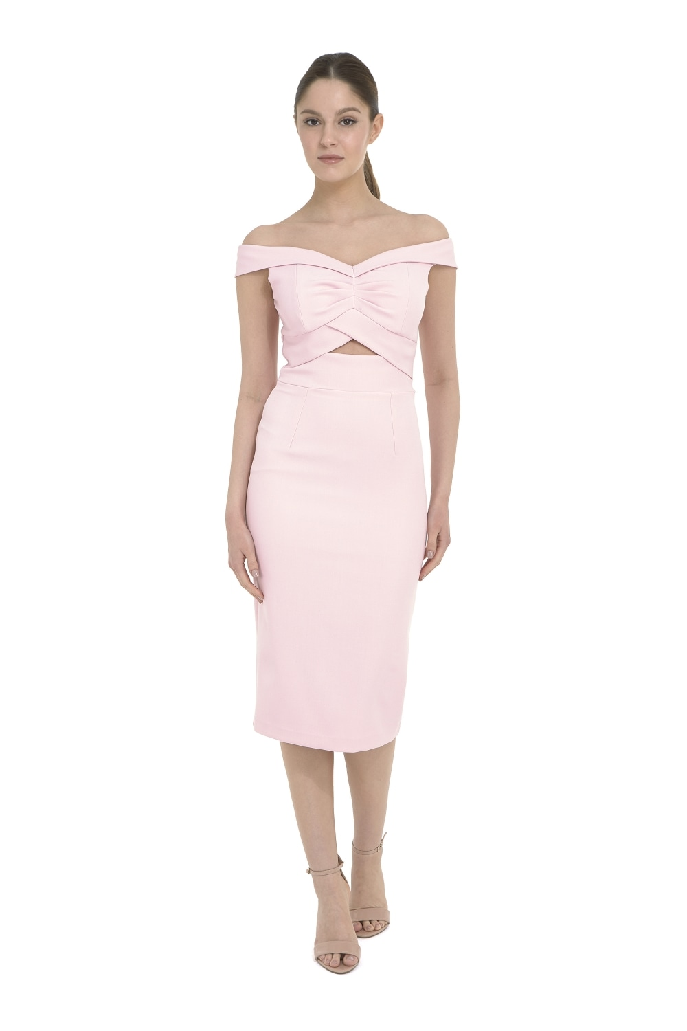 The Pretty Dress Company Kai Pale Pink Luxe Crepe Pencil Dress ...