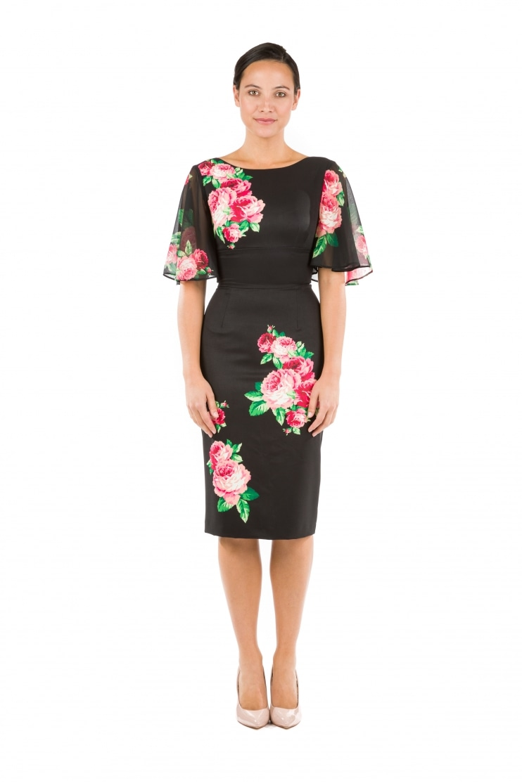 Loretta Pencil Dress with Chiffon Sleeves