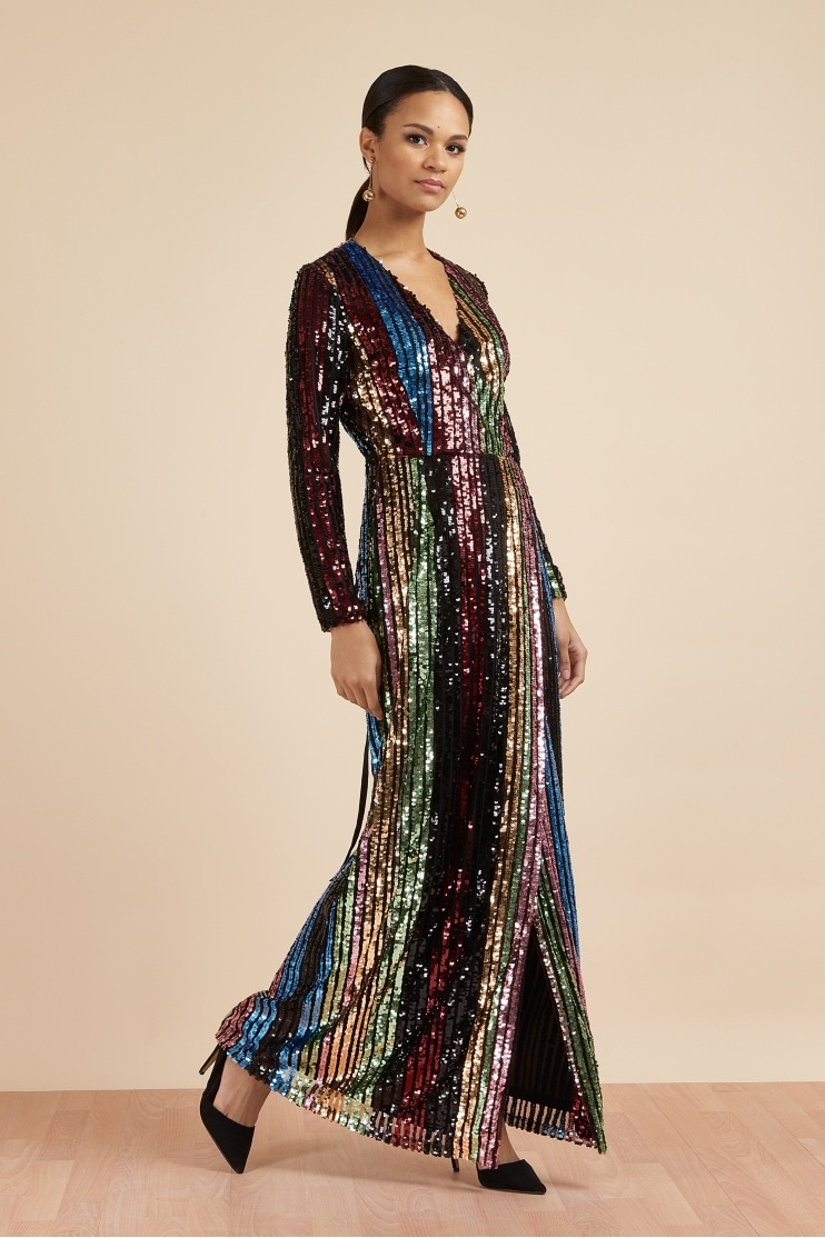 72e28952a54f2 Margaux Sequin Stripe Wrap Gown · The Pretty Dress Company ...