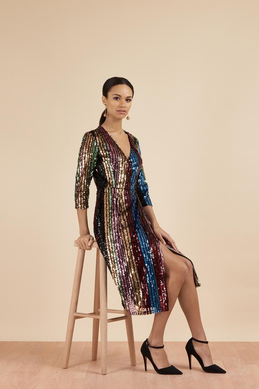 1c9b0132 Dresses: Margaux Sequin Stripe Wrap Midi Dress