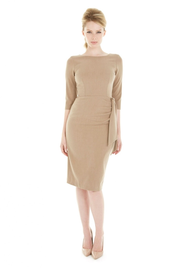 Marnie Camel Twill Pencil Dress